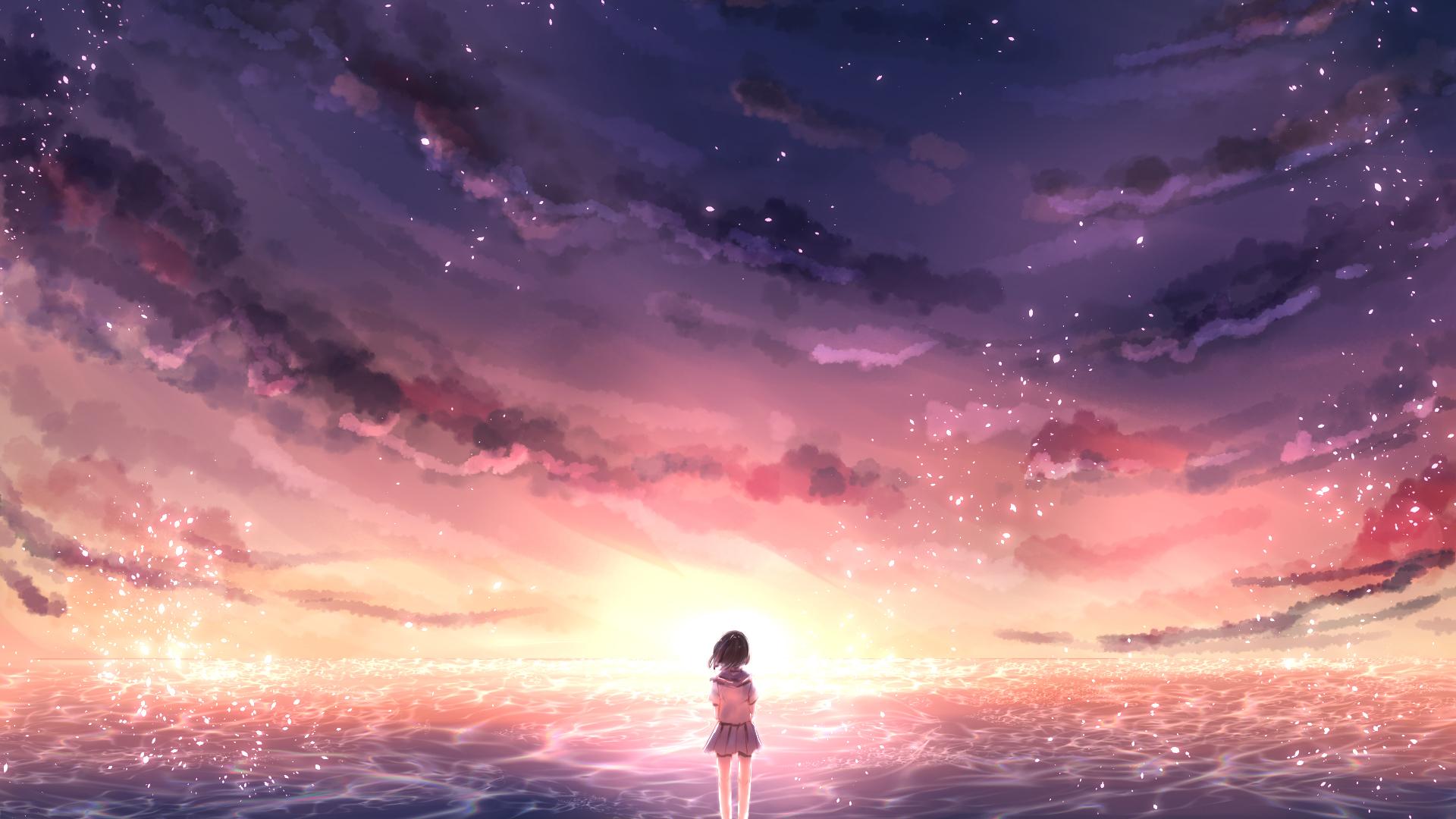 天空风景 海 女孩子 水手服 晚霞 唯美动漫壁纸-动漫壁纸