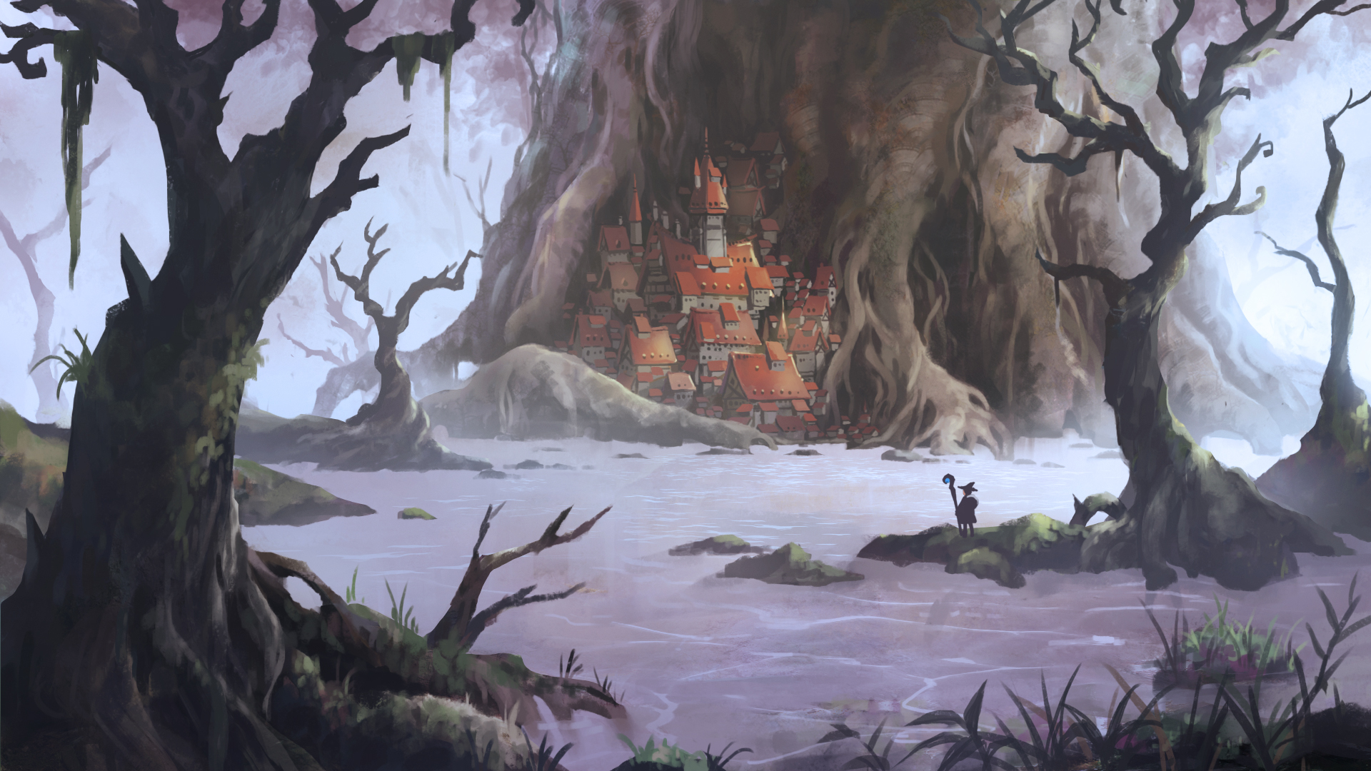 自然 森林 河川 城堡 动漫壁纸-动漫壁纸
