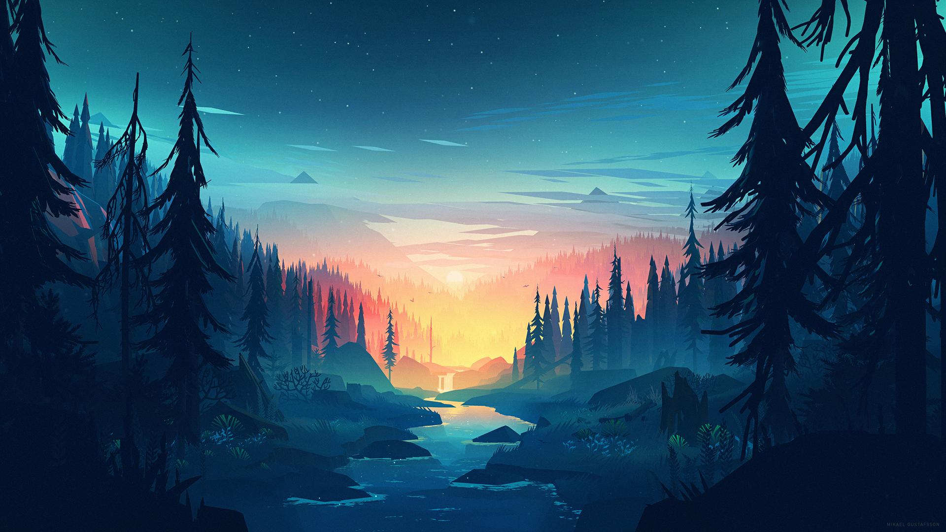 树林小溪夜晚风景壁纸-动漫壁纸