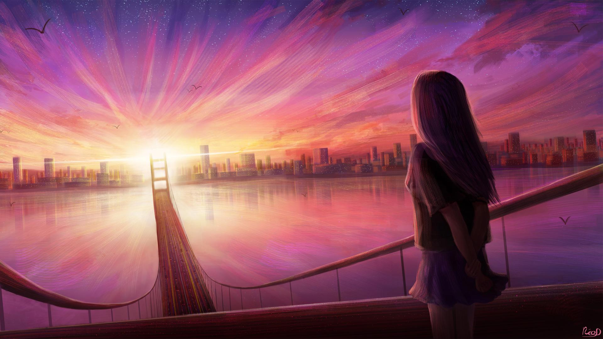 女孩 渴望 城市 桥 夕阳 唯美动漫风景壁纸-动漫壁纸