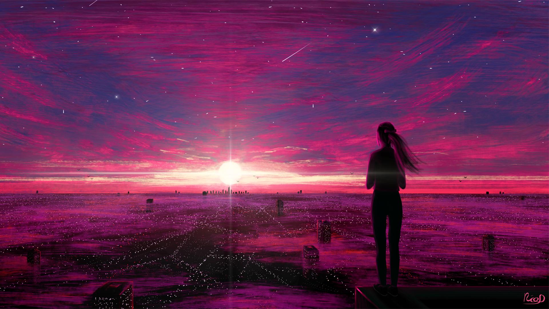 少女背影 城市 闪闪发光 日落 唯美意境动漫壁纸-动漫壁纸