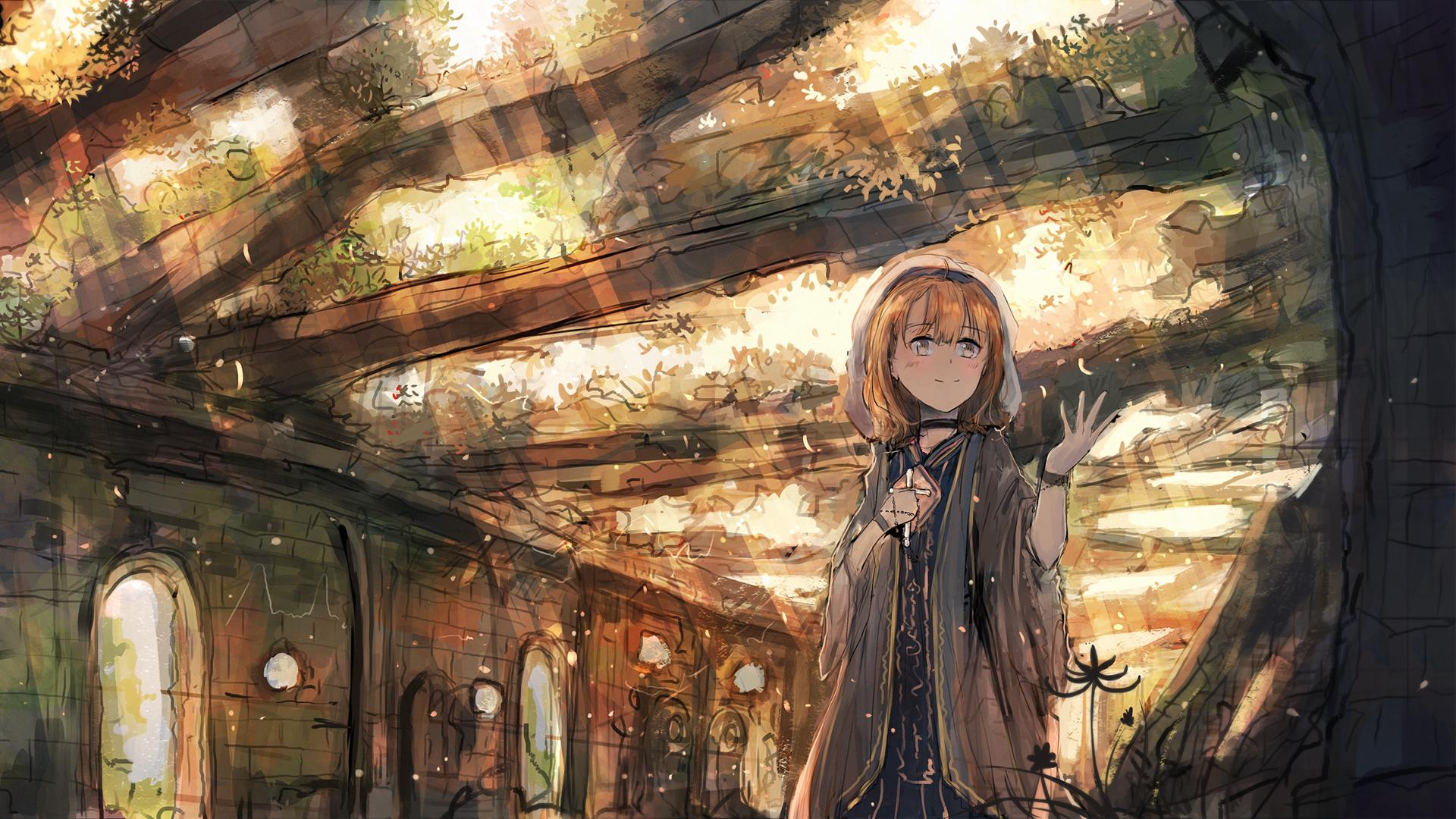 遗迹废墟 风景 女孩子 秋光 动漫壁纸-动漫壁纸