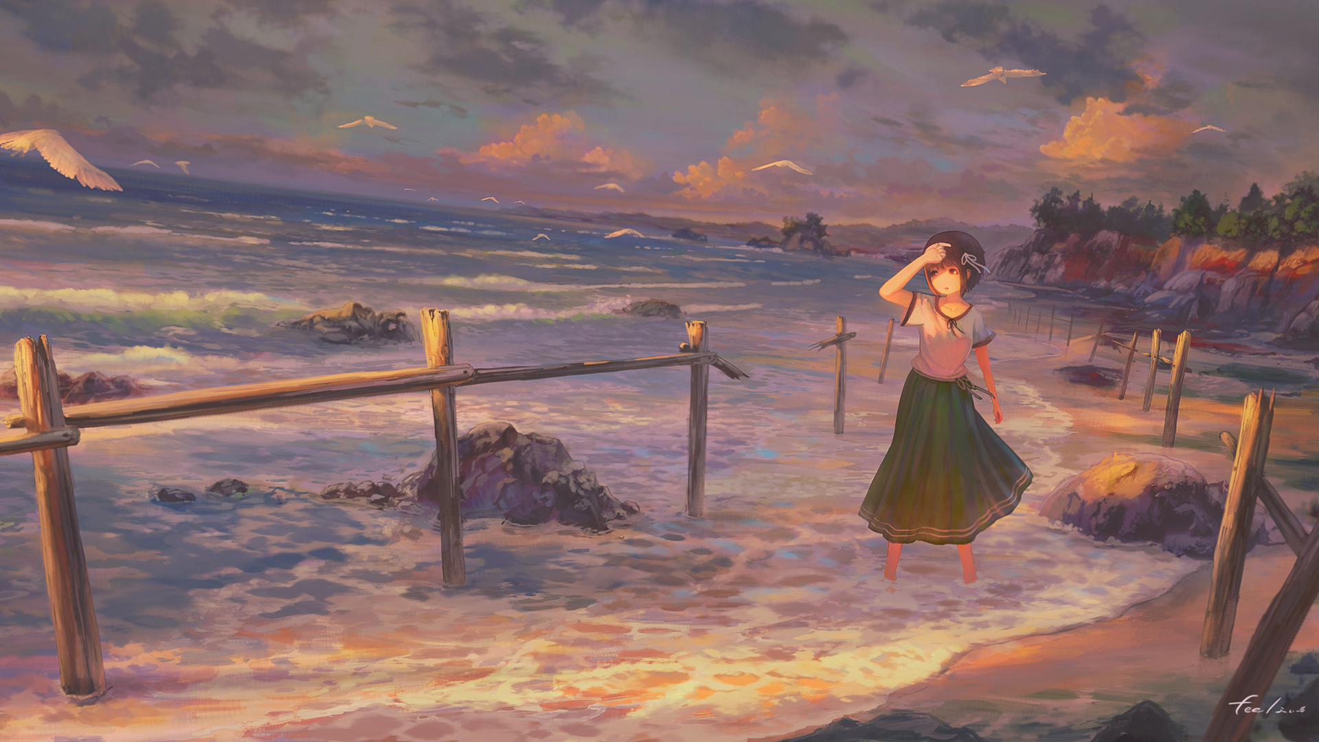 女孩子 海岸夕照风景动漫壁纸-动漫壁纸