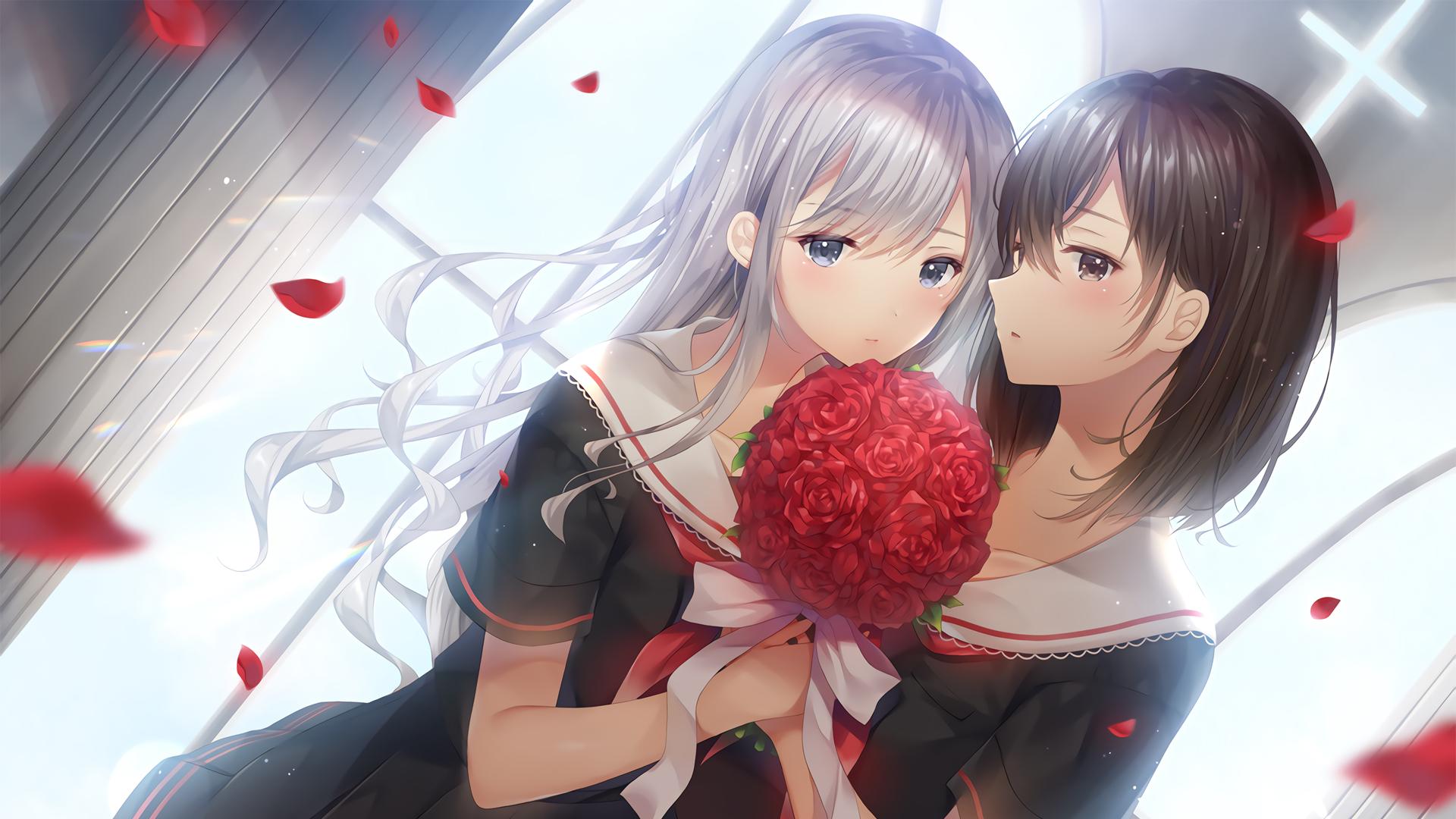 两个女生 百合 唯美好看动漫壁纸