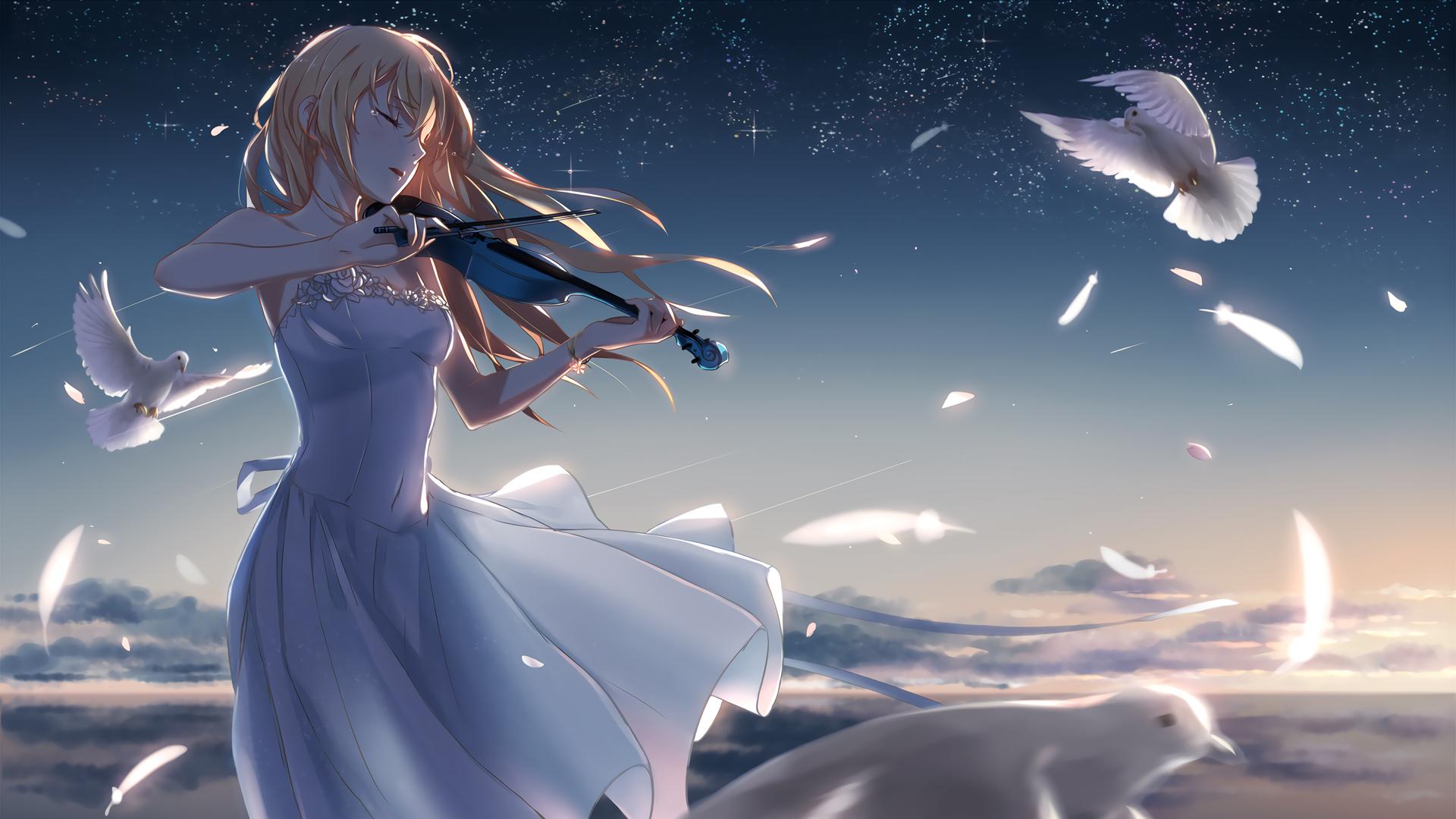 星空 少女 小提琴 白鸽 唯美动漫壁纸
