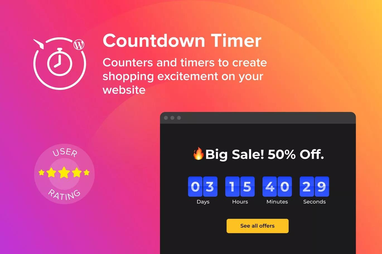 WordPress倒计时小工具 Elfsight Countdown Timer