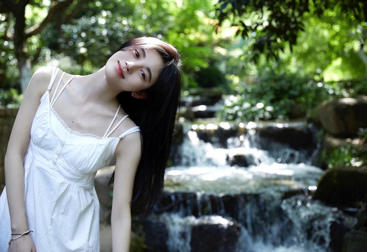 鞠婧祎 白色裙子 唯美写真4k美女壁纸