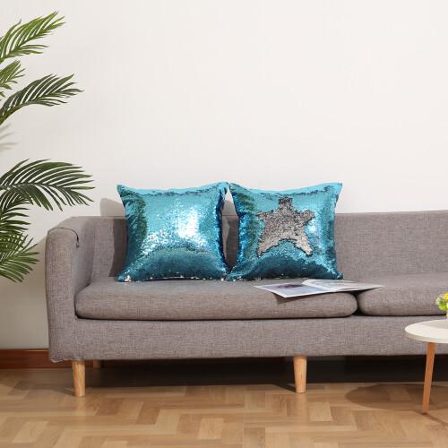 silver blue sequin pillows