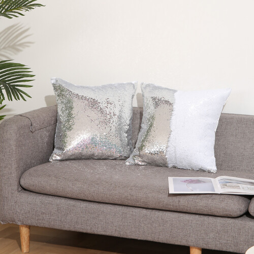 pillow cover silver white