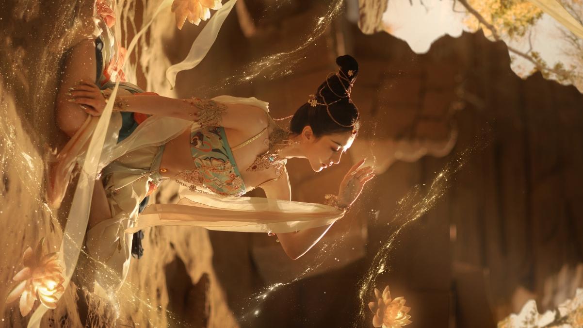 鸿音 敦煌 舞蹈 沙子 阳光 水花 莲花4k美女壁纸3840×2160