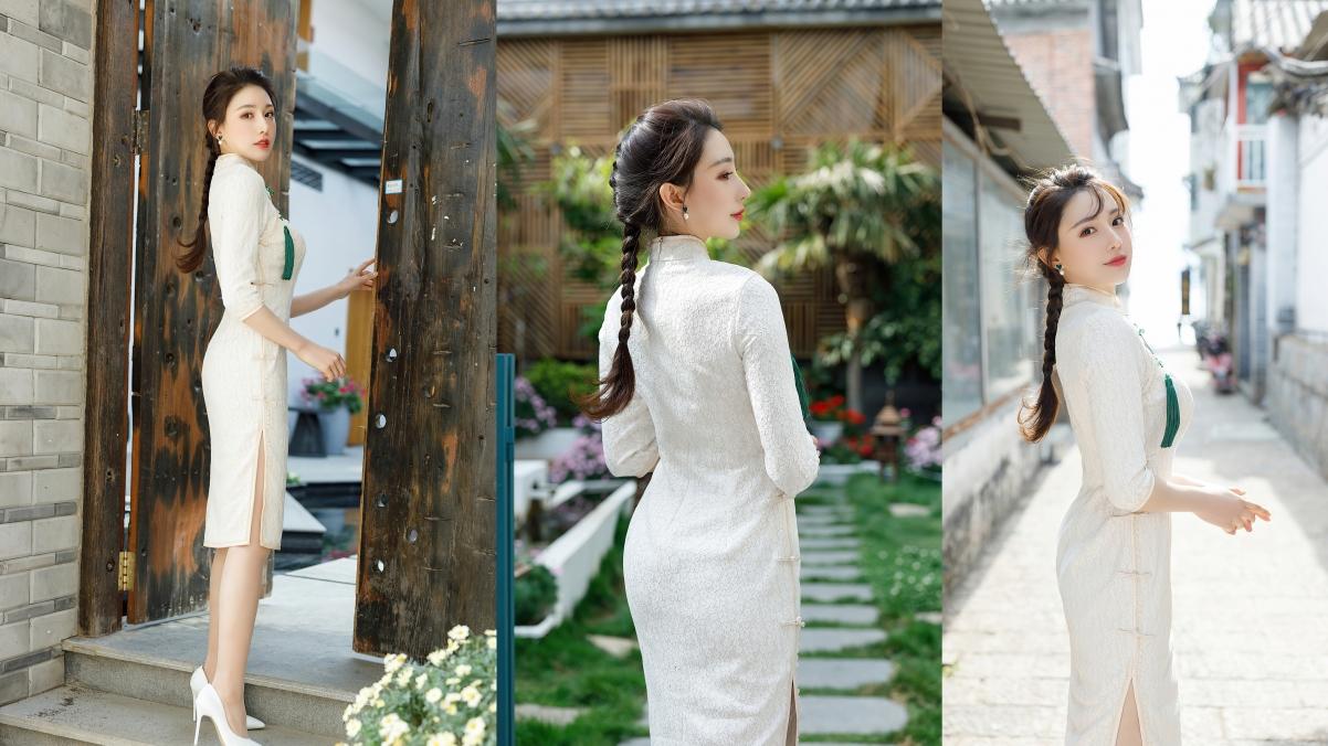 旗袍美女刘奕宁4k美女拼图壁纸