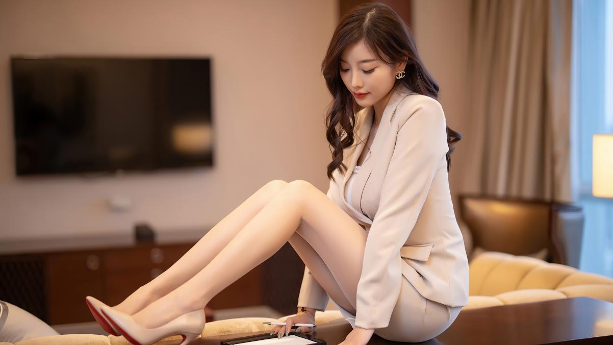 杨晨晨 西装 包臀短裙 丝袜 4k美女壁纸