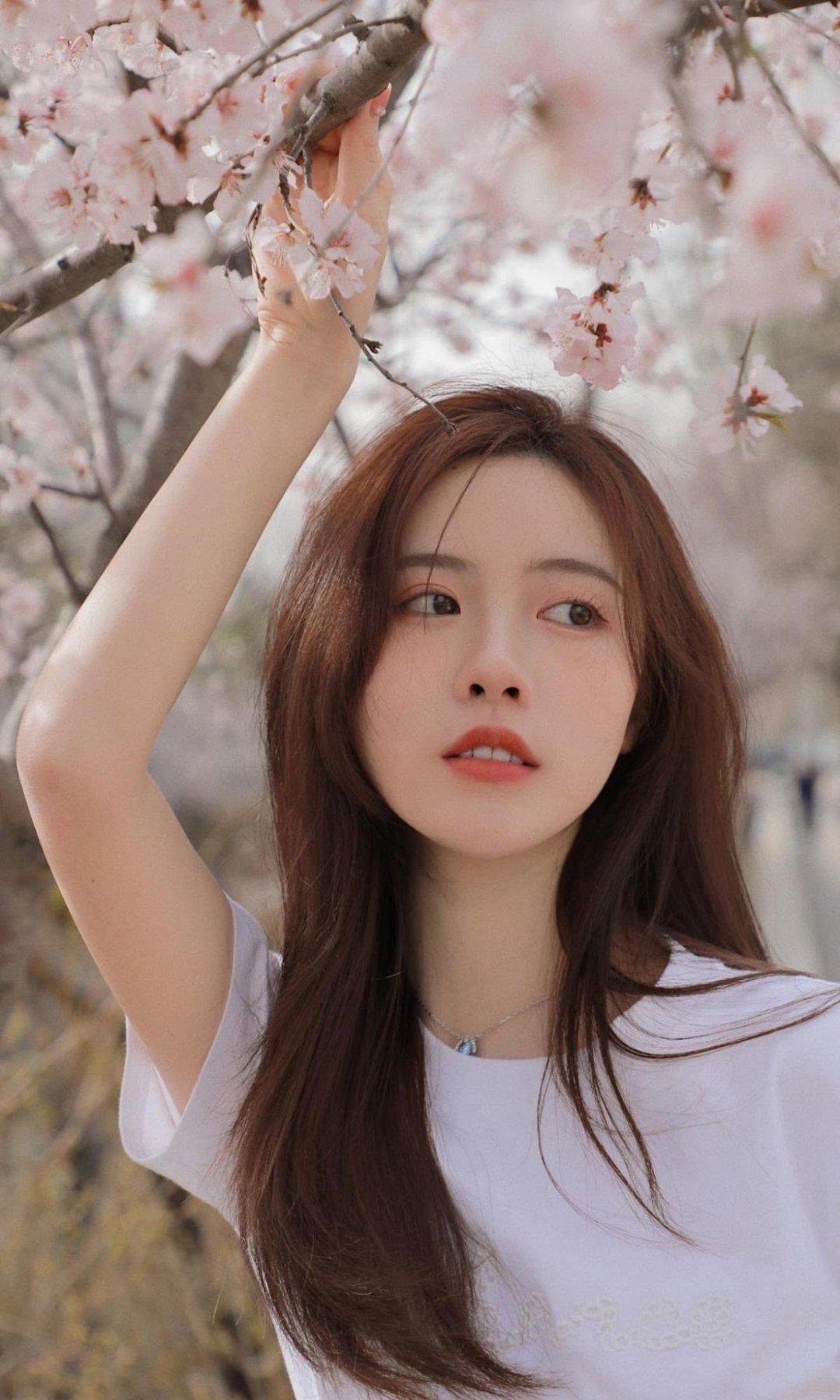 樱花树下的清纯可爱美女写真