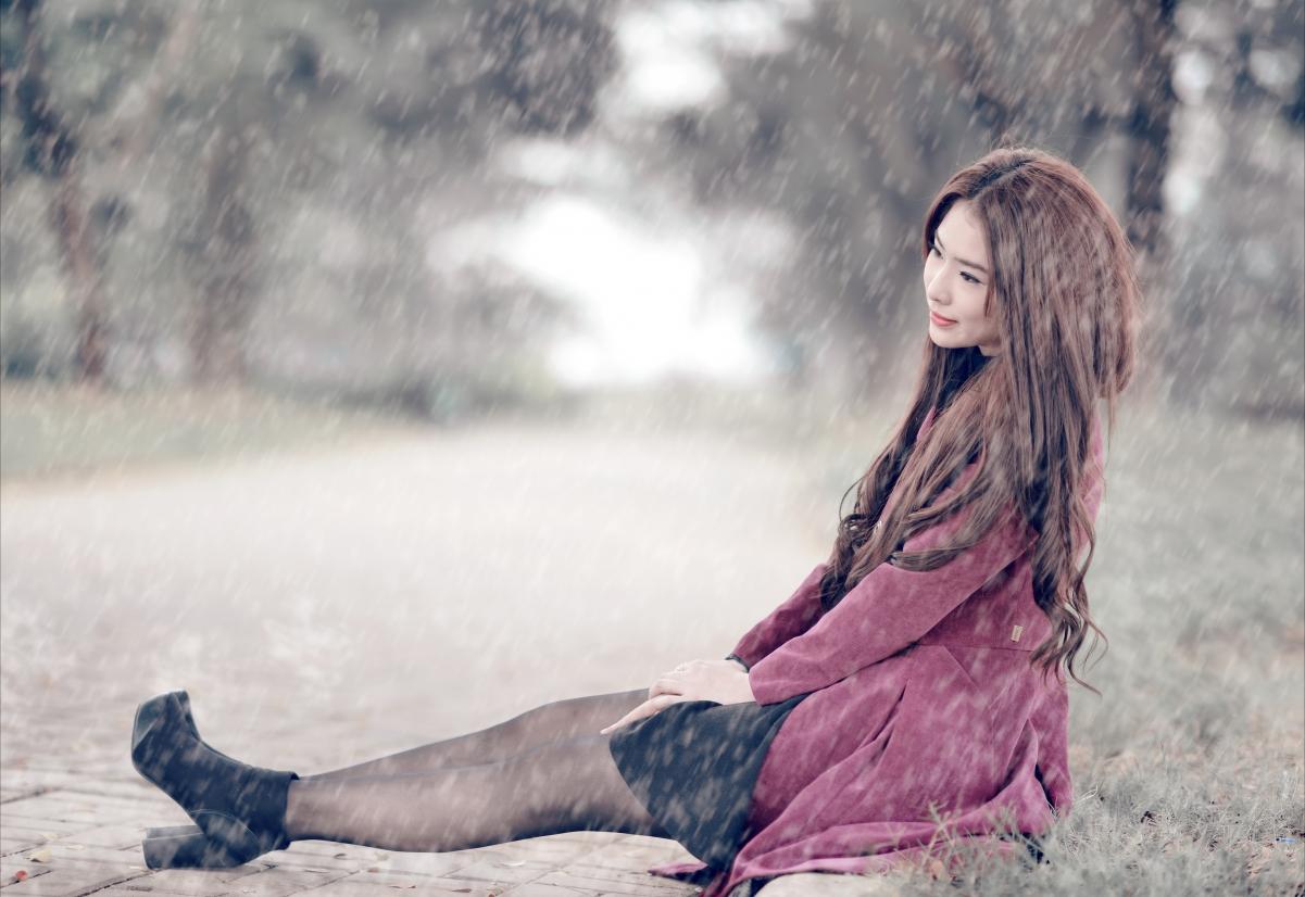街道,路,雨,女孩,唯美摄影图片