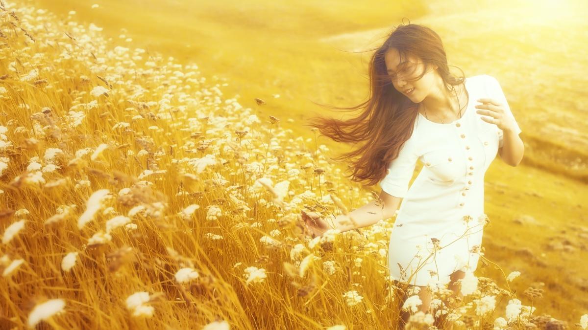 女孩,夏天,鲜花,心情,自然图片
