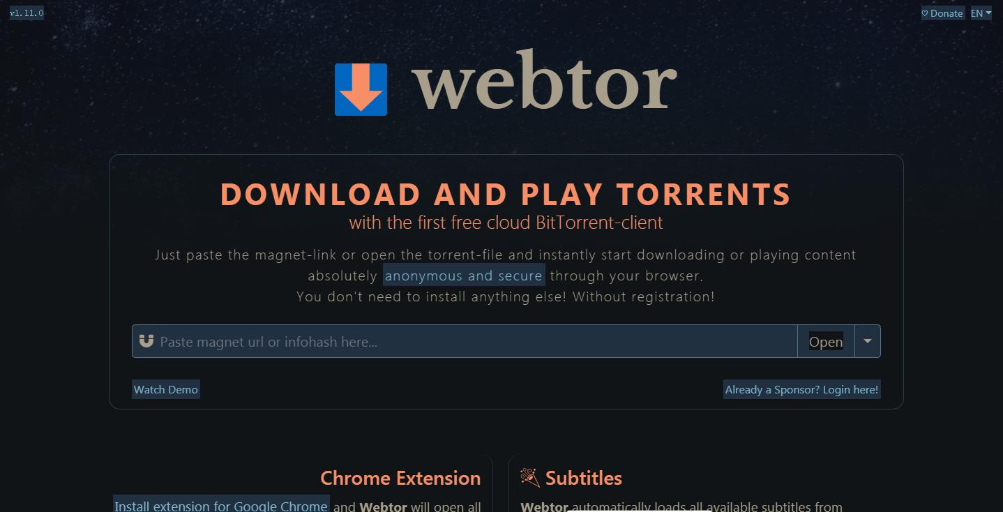 Webtor.io在线磁力观看下载