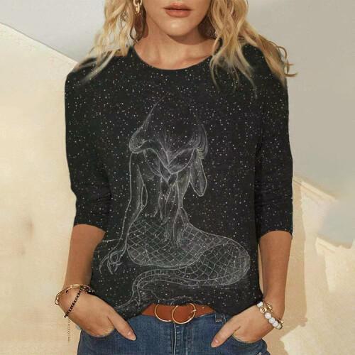 Cute Cat Mermaid 3D Printing Printing Women s T Shirt Tops 2021 Spring Autumn Long Sleeved (4)