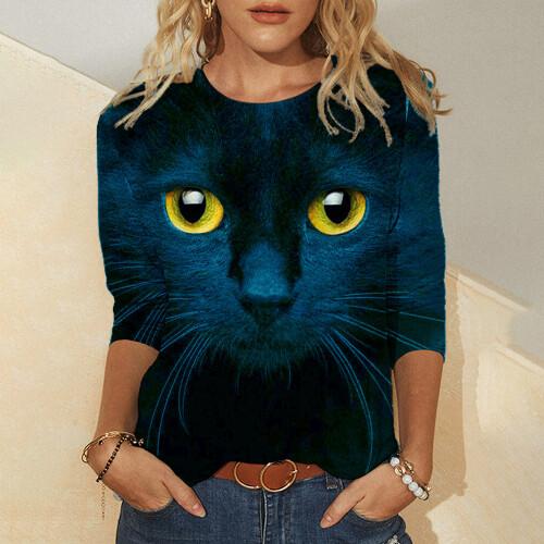 Cute Cat Mermaid 3D Printing Printing Women s T Shirt Tops 2021 Spring Autumn Long Sleeved (1)