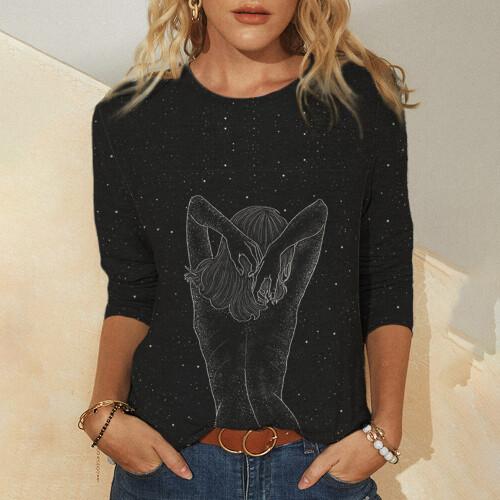 Cute Cat Mermaid 3D Printing Printing Women s T Shirt Tops 2021 Spring Autumn Long Sleeved (3)