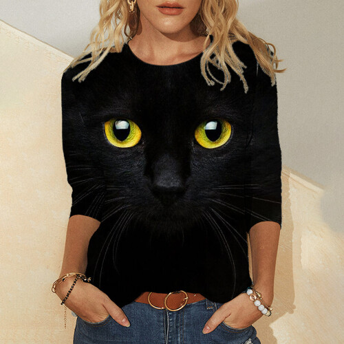 Cute Cat Mermaid 3D Printing Printing Women s T Shirt Tops 2021 Spring Autumn Long Sleeved (2)