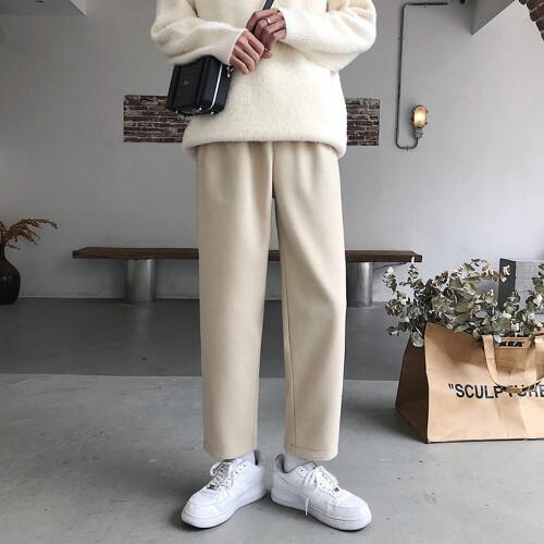 2021 Spring Autumn Casual Straight Pants Women Wool Pants Femme High Waist Loose Trousers Women (1)