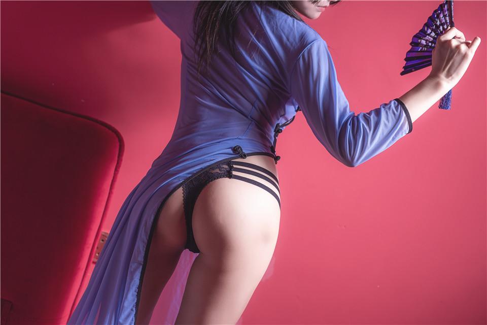 婴紫-炸毛总裁不艹粉 – 透明旗袍蓝